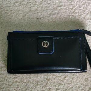 Black and blue  wallet wristlet
